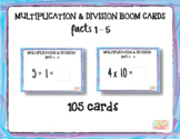 "Multiplication Facts 1-5 with Inverse Division Facts1-5 ""Boom Cards"""