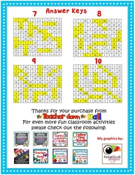 Multiplication Facts- 10 Practice Pages w/ Number Puzzles!!