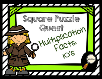 Multiplication Facts: 10's - Square Puzzle Quest