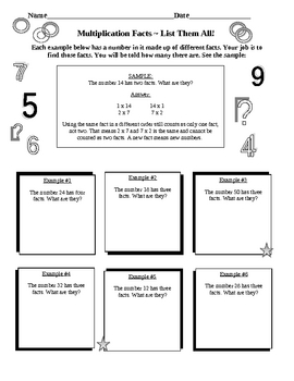 Multiplication Facts 15 Pages of Practice