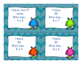 I Have Who Has Multiplication Game 3rd Grade Single Digit Multiplication Game