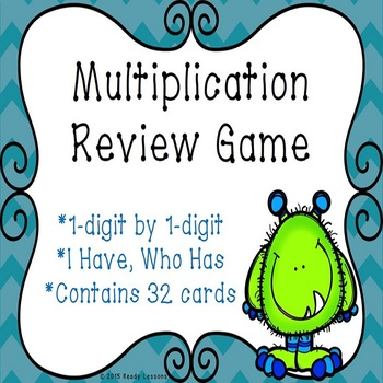 I Have Who Has Single Digit Multiplication Game