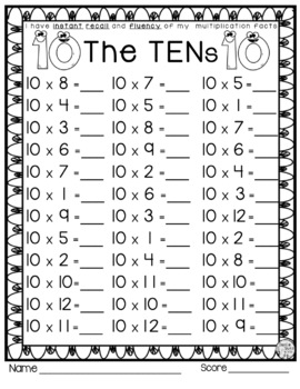Multiplication Facts Practice Packet - Multiplying by 10