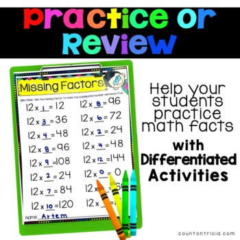 Multiplication Facts Practice Multiplying by 12