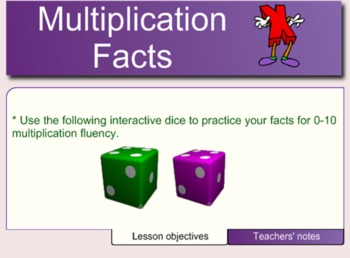 Multiplication Facts 2s - 9's Smartboard Activity