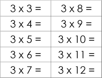 Multiplication Facts 3-12 with Answers by No Frills - All Skills