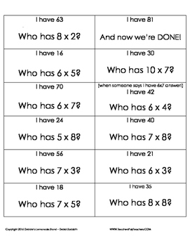 Multiplication Facts 3-6-7 I-Have-Who-Has