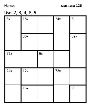 Multiplication Facts: 39 MathDoku Puzzles For Practice