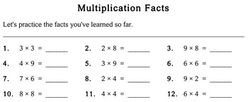 Multiplication Facts, 3rd grade - Individualized Math - worksheets