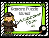 Multiplication Facts: 4's - Square Puzzle Quest