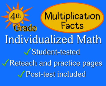 Multiplication Facts, 4th grade - Individualized Math - worksheets