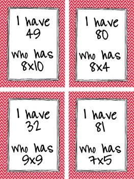 Multiplication Facts 5-10, I have, Who Has?