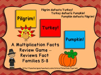 Multiplication Facts 5-8 Review Game- Pilgrim! Turkey! Pumpkin!