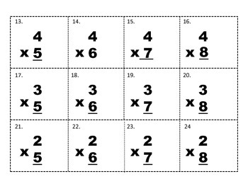 Multiplication Facts 5-8 Tic Tac Toe Game