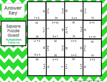 Multiplication Facts: 5's - Square Puzzle Quest