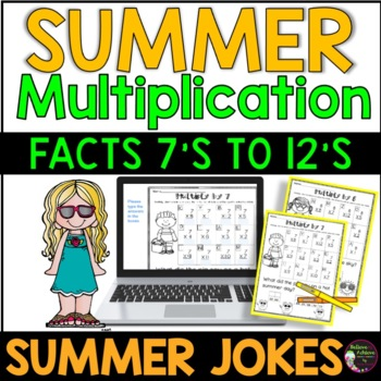 Multiplication Facts (7's to 12's) with Summer Jokes!