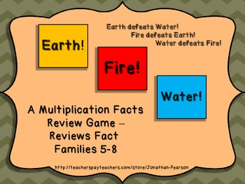 Multiplication Facts 9-12 - Earth! Water! Fire! - An Exciting Facts Review Game