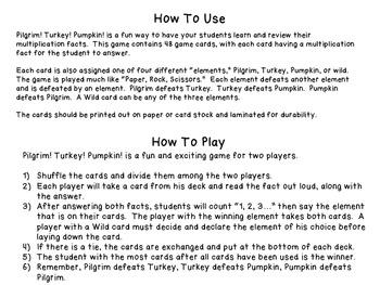 Multiplication Facts 9-12 Review Game- Pilgrim! Turkey! Pumpkin!