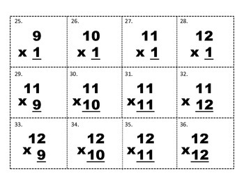 Multiplication Facts 9-12 Tic Tac Toe Game