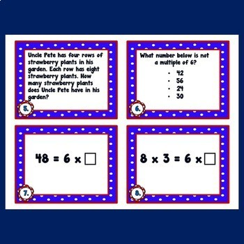 Multiplication Facts Activities Task Cards