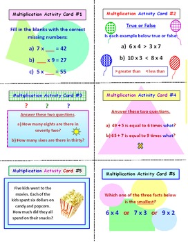 Multiplication Facts Activity Task Cards and Lesson Plan (30 Cards)