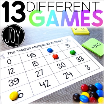 Multiplication Facts BINGO 1-12 - 12 Different Games - Separated by Number Sets