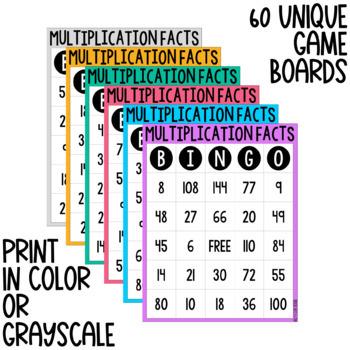 Multiplication Facts BINGO - Digital & Print Versions - NO PREP Game