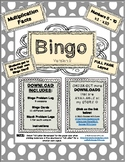 Multiplication Facts BINGO GAME (0-10;x1-x10) - Version 2 (Full Layout) FLUENCY