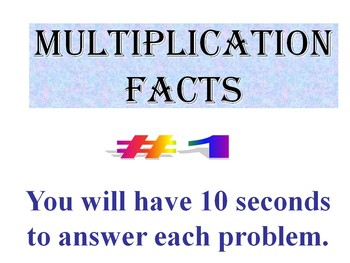 Multiplication Facts BUNDLE of 10  (PowerPoint Warm Ups or Quizzes)