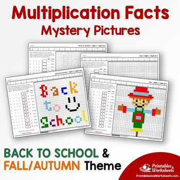 Back To School, Fall - Multiplication Activity, Mystery Pictures Coloring Pages