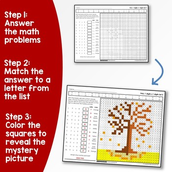Fall Multiplication Coloring, Back To School Activity Mystery Picture Bundle