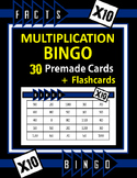 Multiplication Facts Bingo - 10s Flashcards, 30 pre-made Bingo Cards, & more!
