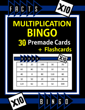 Multiplication Facts Bingo - 10s Flashcards, 30 pre-made B