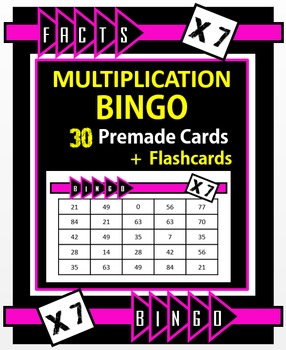 Multiplication Facts Bingo - 7s Flashcards, 30 pre-made Bi