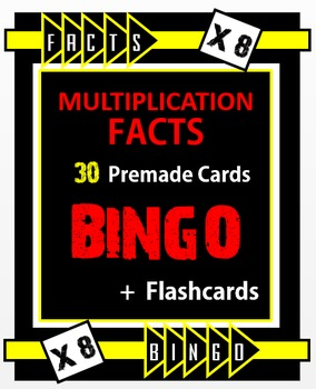 Multiplication Facts Bingo - 8s Flashcards, 30 pre-made Bi