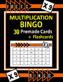 Multiplication Facts Bingo - 9s Flashcards, 30 pre-made Bingo Cards, & more!