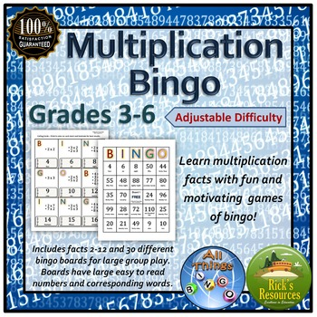 Multiplication Facts Bingo Game