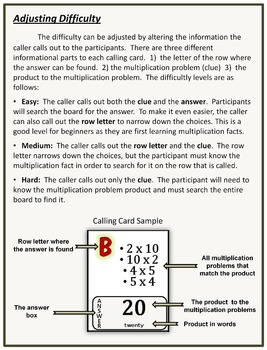 Multiplication Facts Bingo Game