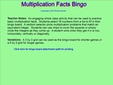 Multiplication Facts Bingo for the SMARTboard