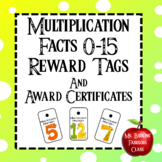 Reward Tags and Editable Award Certificates for Multiplication Facts  0-15