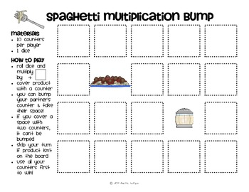 Multiplication Facts Bump Games Pack #1 (Food)