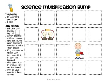 Multiplication Facts Bump Games Pack #2 (Science)