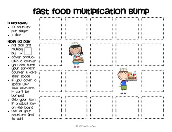 Multiplication Facts Bump Games Pack #3 (Kids)