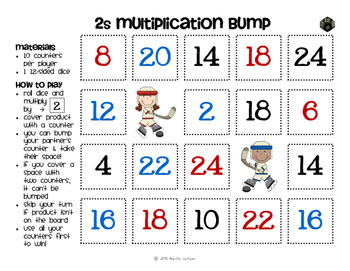 Multiplication Facts Bump Games Pack #5 (2s, 3s, 4s, 5s, 10s)