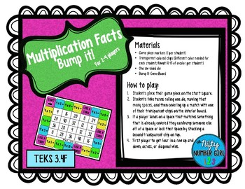 Multiplication Facts Bump it! TEKS 3.4F