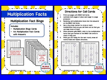 Multiplication Facts Bundle--3 Different Activities--Flash Cards, BINGO, Spinner