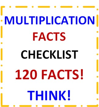 Multiplication Facts Checklist