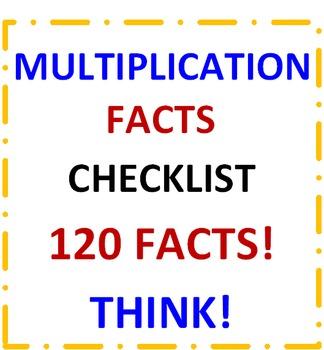 Multiplication Facts Checklist