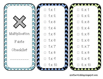 Multiplication Facts Checklist Book