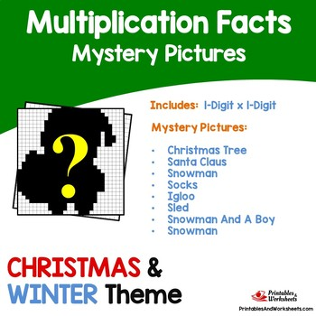 Christmas, Winter Multiplication Activities Math Coloring Pages